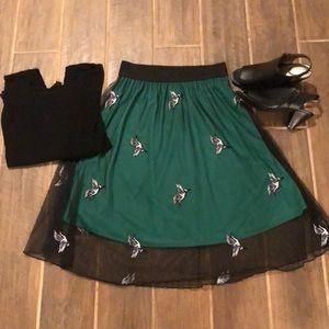 LulaRoe green skirt, black tulle overlay S